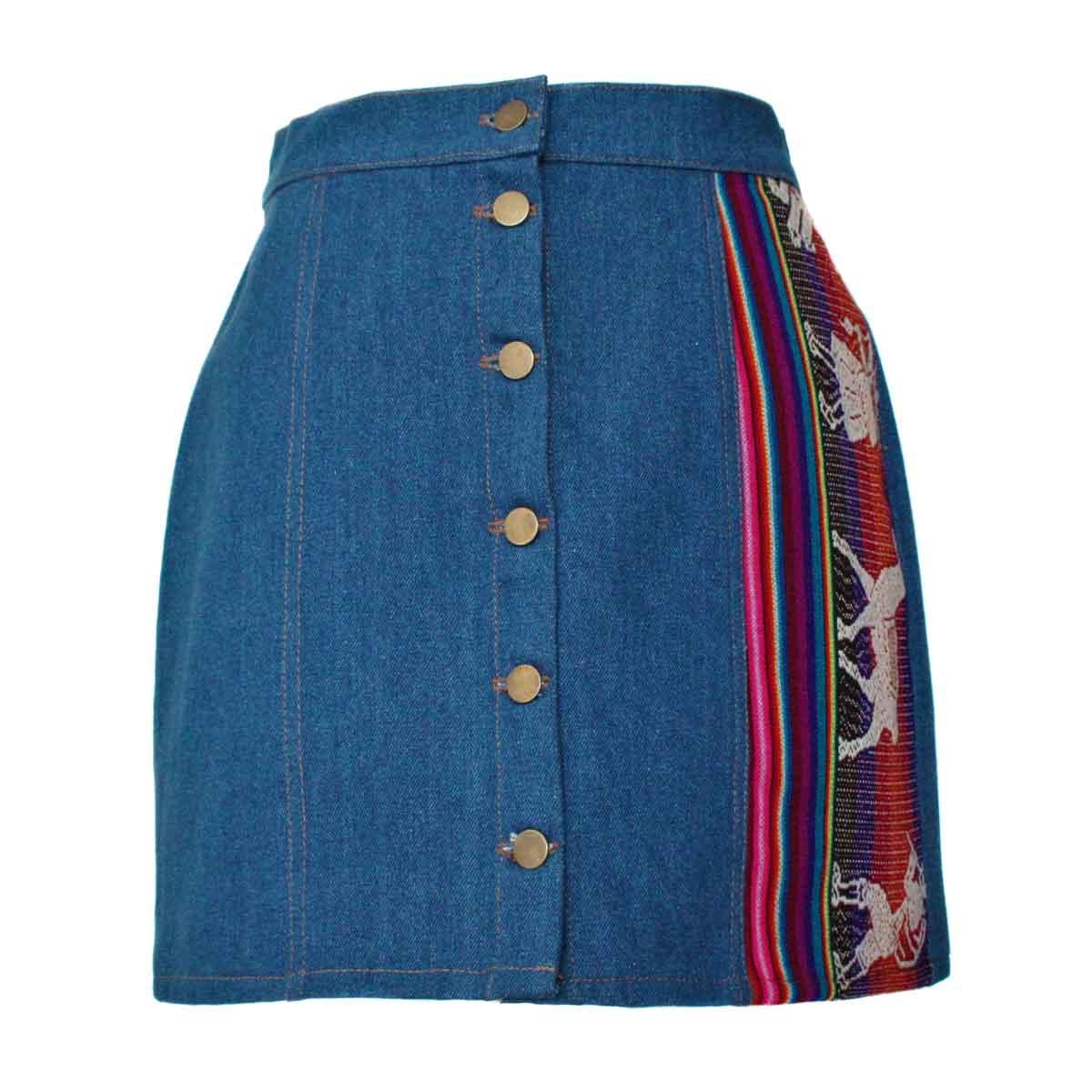 Inka-Products-Mini-jupe Femme Denim Bleu Jean-Tissu Traditionnel Andin Coloré
