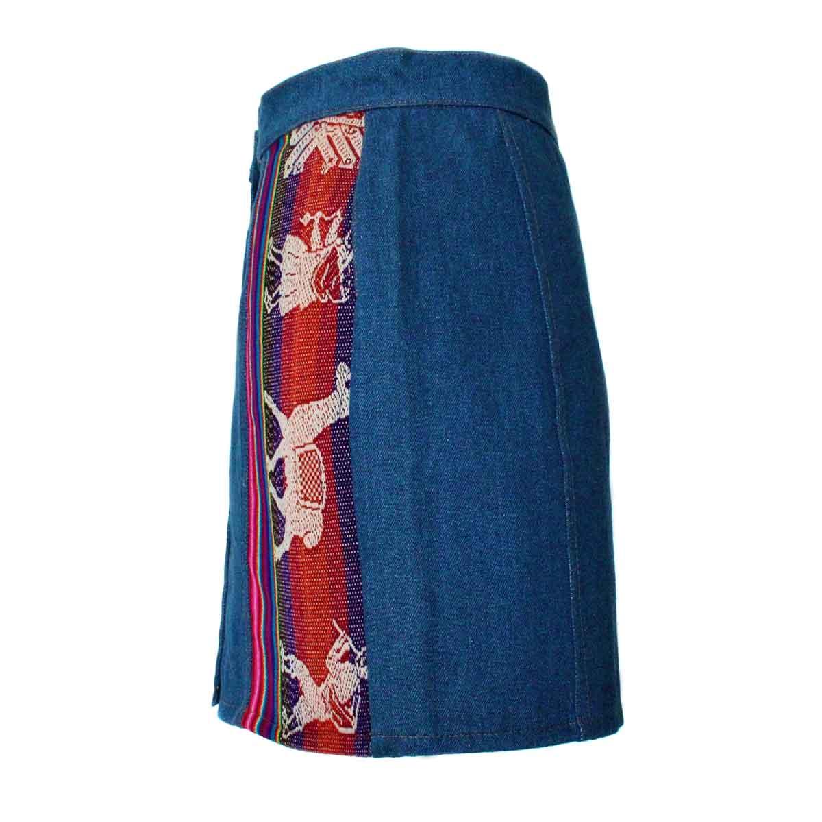 Inka-Products-Mini-jupe Femme Denim Bleu Jean-Tissu Traditionnel Andin Coloré-2