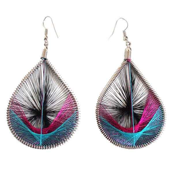 Inka-Products-Boucles d'Oreilles Gouttes-Noir Fuchsia Turquoise