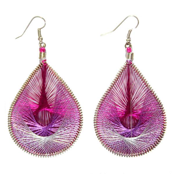 Inka-Products-Boucles d'Oreilles Gouttes-Fuchsia Violet Argenté