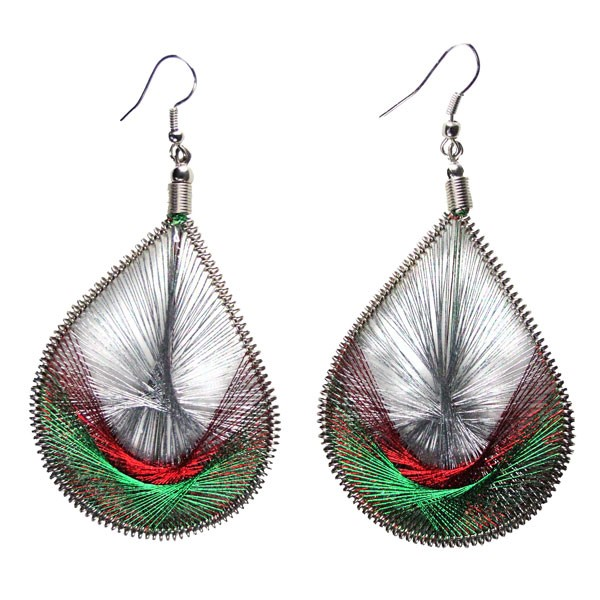 Inka-Products-Boucles d'Oreilles Gouttes-Argenté Rouge Vert