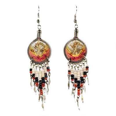 Inka-Products-Boucles d'Oreilles Attrape Rêves-Fils Jaune et Bois de Rose avec Perles de Rocailles