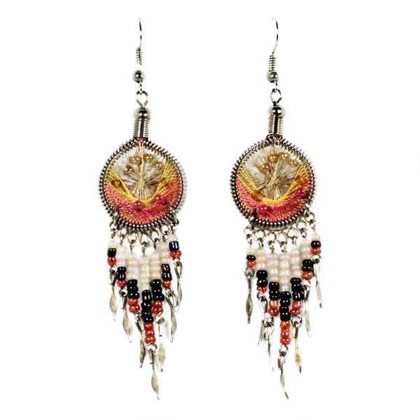 Boucles d'Oreilles Attrape Rêves Fils Jaune et Bois de Rose avec Perles de Rocailles - Inka Products