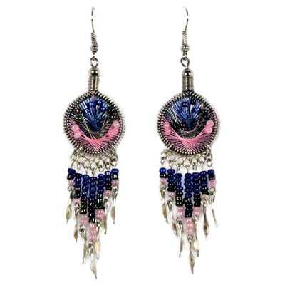 Inka-Products-Boucles d'Oreilles Attrape Rêves-Fils Bleu Foncé et Rose avec Perles de Rocailles