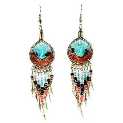 Inka-Products-Boucles d'Oreilles Attrape Rêves-Fils Bleu Ciel et Orange avec Perles de Rocailles