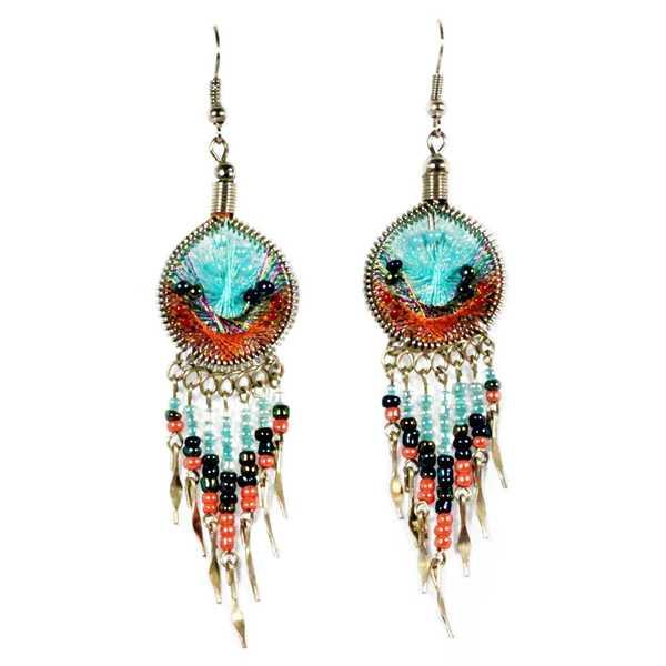 Boucles d'Oreilles Attrape Rêves Fils Bleu Ciel et Orange avec Perles de Rocailles - Inka Products