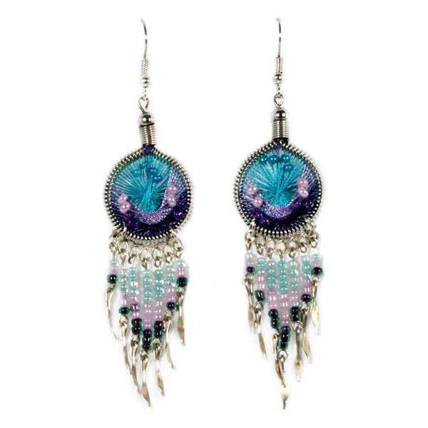 Boucles d'Oreilles Attrape Rêves Fils Bleu Ciel et Violet avec Perles de Rocailles - Inka Products