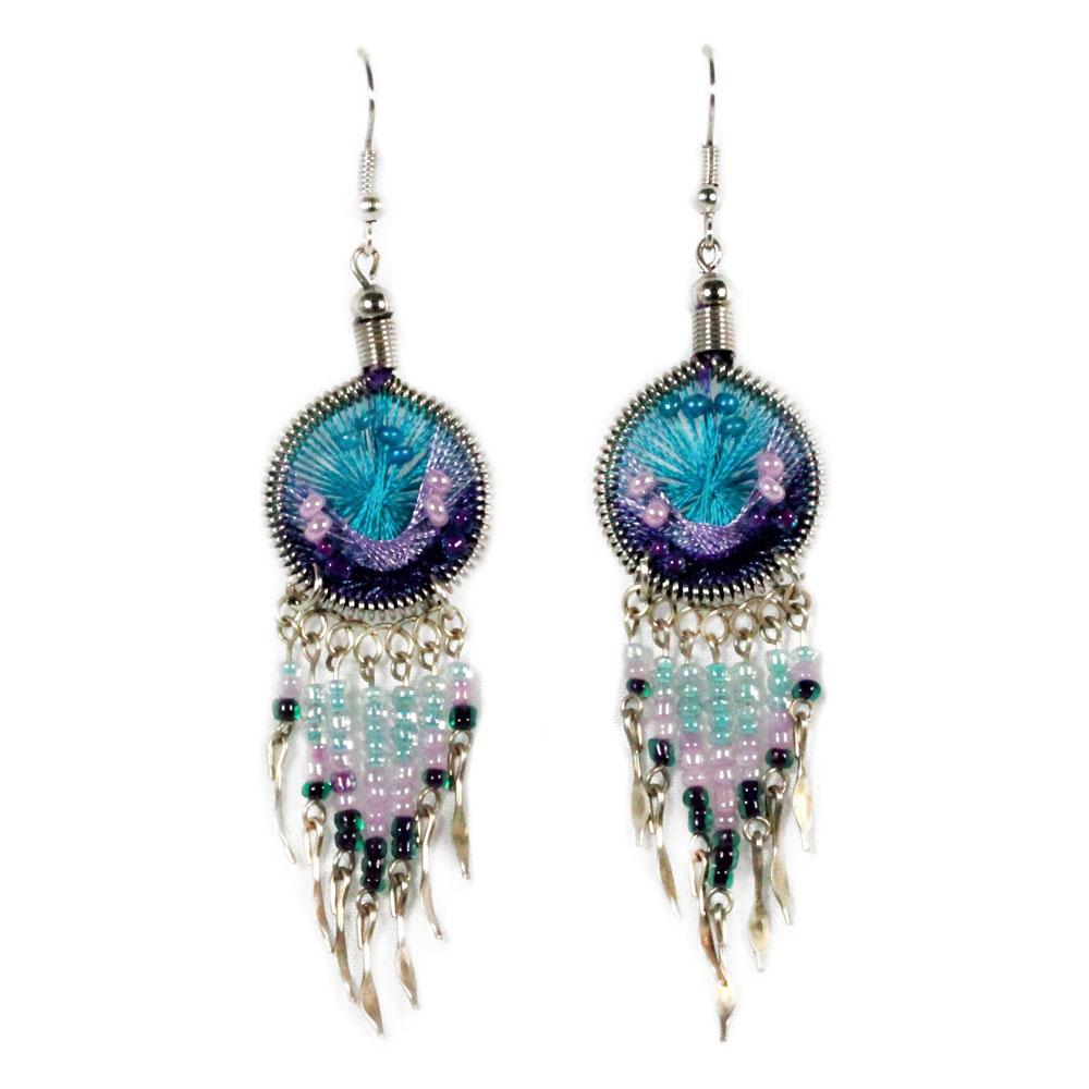 Inka-Products-Boucles d'Oreilles Attrape Rêves-Fils Bleu Ciel et Violet avec Perles de Rocailles