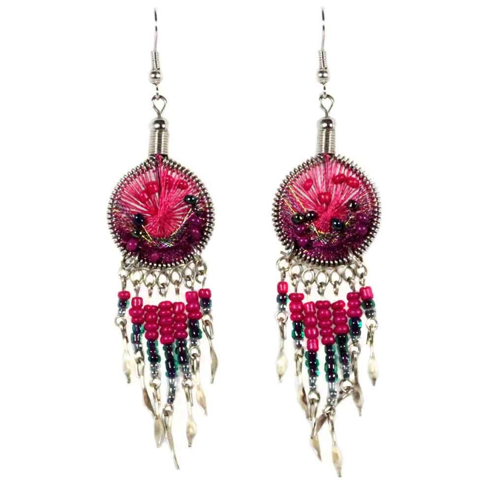 Inka-Products-Boucles d'Oreilles Attrape Rêves-Fils Fuchsia et Violet avec Perles de Rocailles