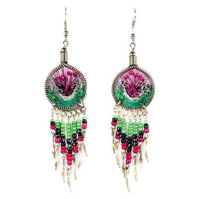 Inka-Products-Boucles d'Oreilles Attrape Rêves-Fils Violet et Vert avec Perles de Rocailles