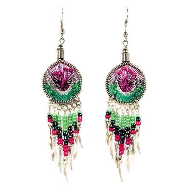 Boucles d'Oreilles Attrape Rêves Fils Violet et Vert avec Perles de Rocailles - Inka Products