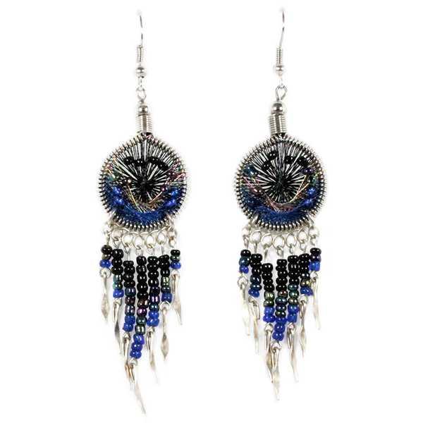 Boucles d'Oreilles Attrape Rêves Fils Noir et Bleu avec Perles de Rocailles - Inka Products