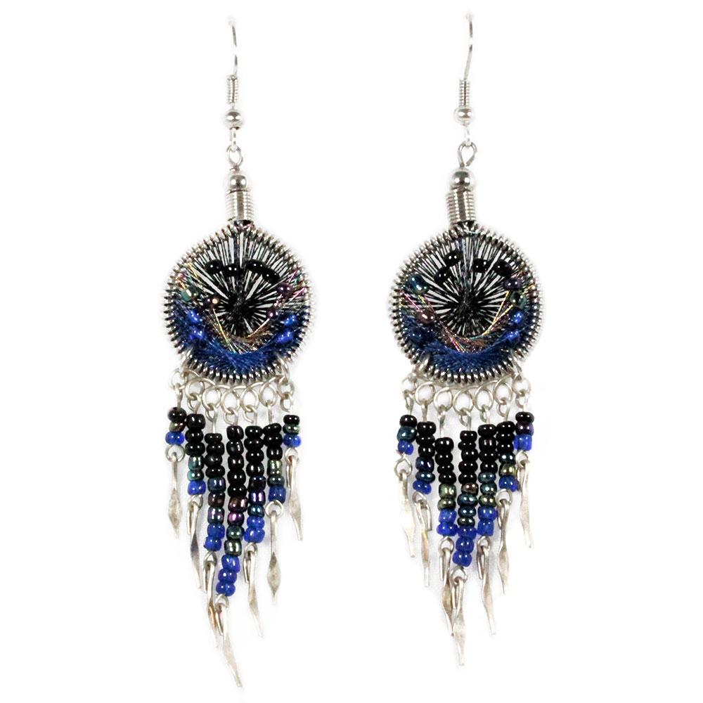 Inka-Products-Boucles d'Oreilles Attrape Rêves-Fils Noir et Bleu avec Perles de Rocailles