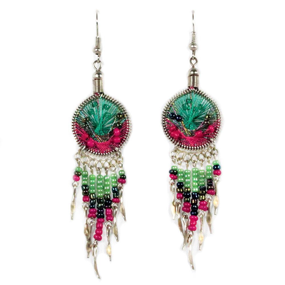 Inka-Products-Boucles d'Oreilles Attrape Rêves-Fils Turquoise et Fuchsia avec Perles de Rocailles