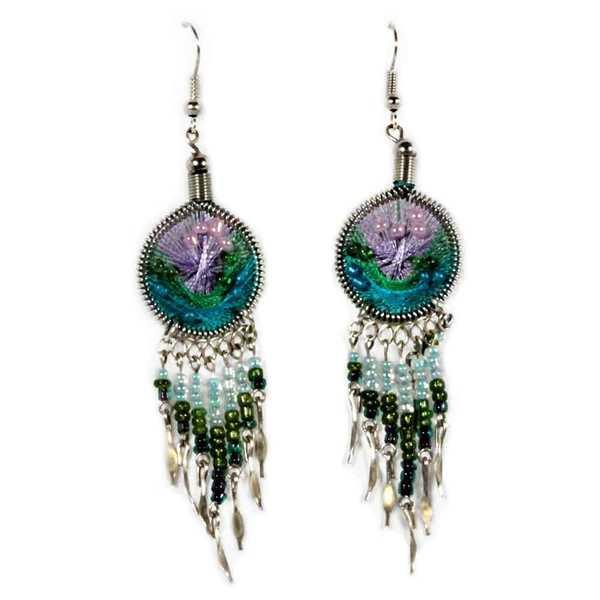 Boucles d'Oreilles Attrape Rêves Fils Violet, Bleu Ciel et Vert avec Perles de Rocailles - Inka Products