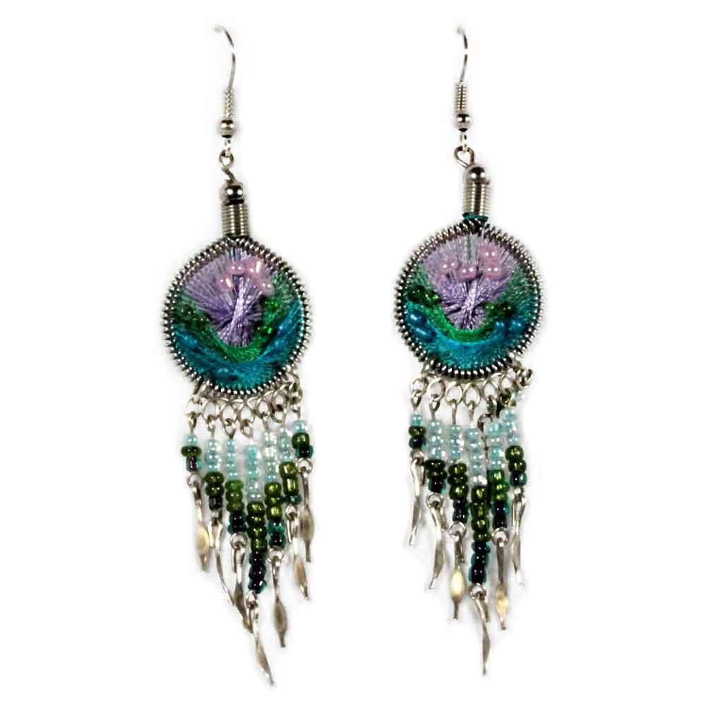 Inka-Products-Boucles d'Oreilles Attrape Rêves-Fils Violet, Bleu Ciel et Vert avec Perles de Rocailles