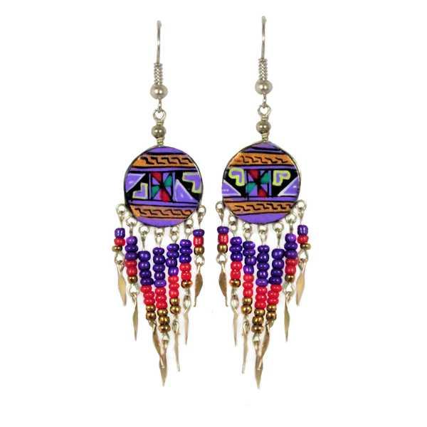 Boucles d'Oreilles en Céramique Artisanale Violettes Rondes Peintes à la Main avec Perles de Rocailles - Inka Products