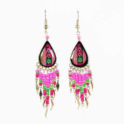 Inka-Products-Boucles d'Oreilles en Céramique Artisanale-Rose Goutte Peintes à la Main avec Perles de Rocailles