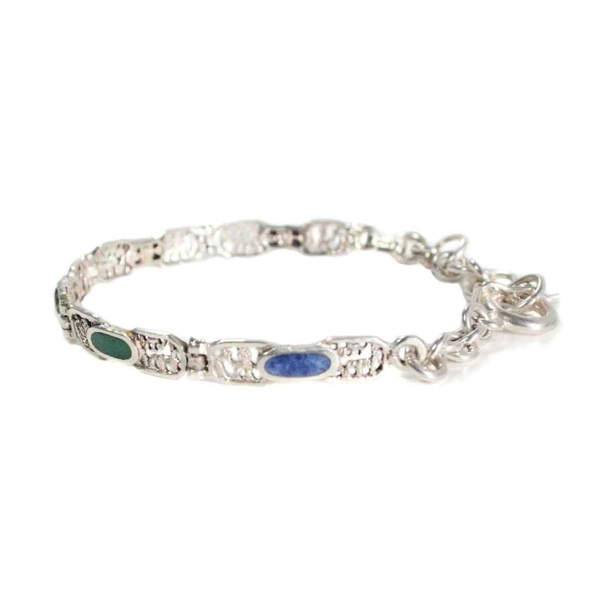 Inka-Products-Bracelet en Argent-Argent 950ème avec Pierres Naturelles Ovales-2