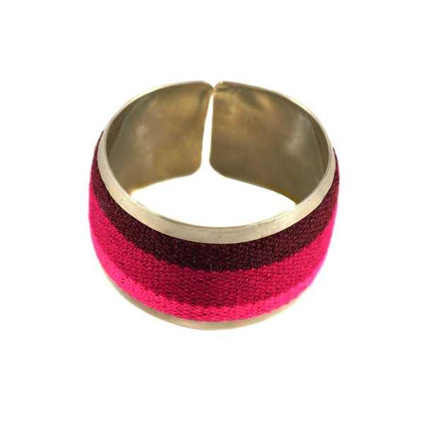 Bracelet Tissu Traditionnel Péruvien Nuances de Fuchsia - Inka Products