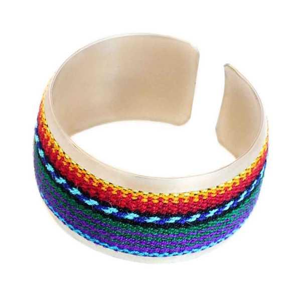 Bracelet Tissu Traditionnel Péruvien Bracelet Coloré Violet - Inka Products