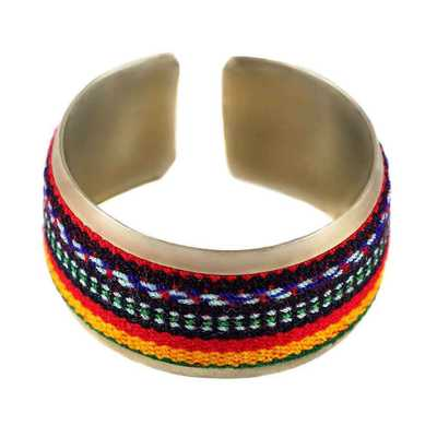 Inka-Products-Bracelet Tissu Traditionnel Péruvien-Bracelet Coloré Rouge