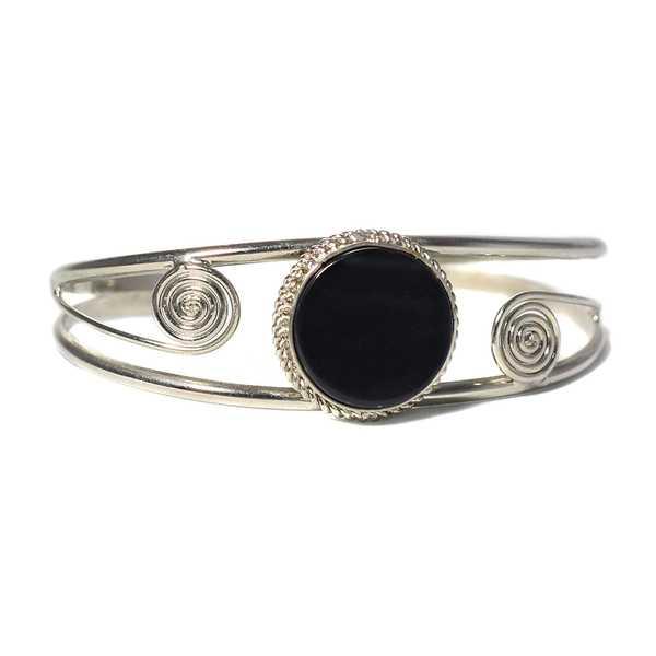 Bracelet en Métal Argenté QILLA Pierre Semi-précieuse Onyx - Inka Products