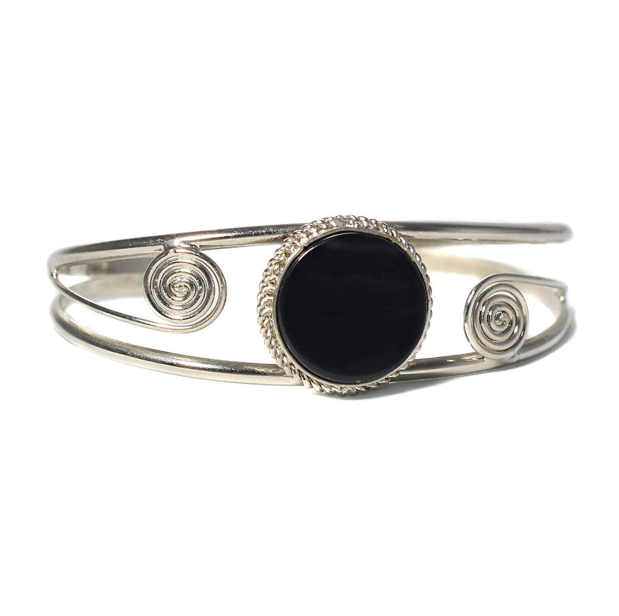 Inka-Products-Bracelet en Métal Argenté QILLA-Pierre Semi-précieuse Onyx