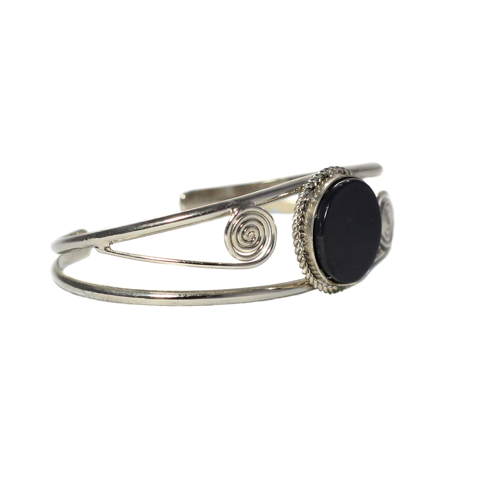 Inka-Products-Bracelet en Métal Argenté QILLA-Pierre Semi-précieuse Onyx-2