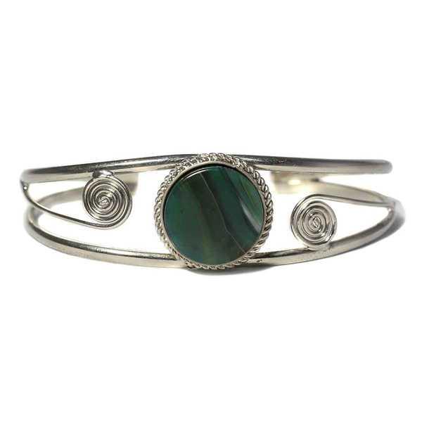 Bracelet en Métal Argenté QILLA Pierre Semi-précieuse Agate Verte - Inka Products