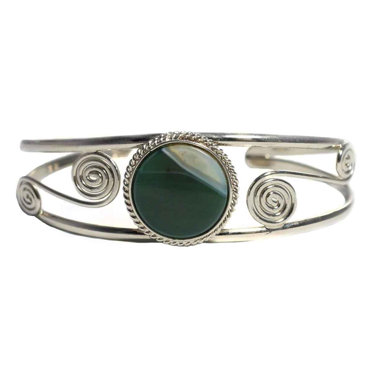Inka-Products-Bracelet en Métal Argenté QILLA-Pierre Semi-précieuse Agate Verte Blanche