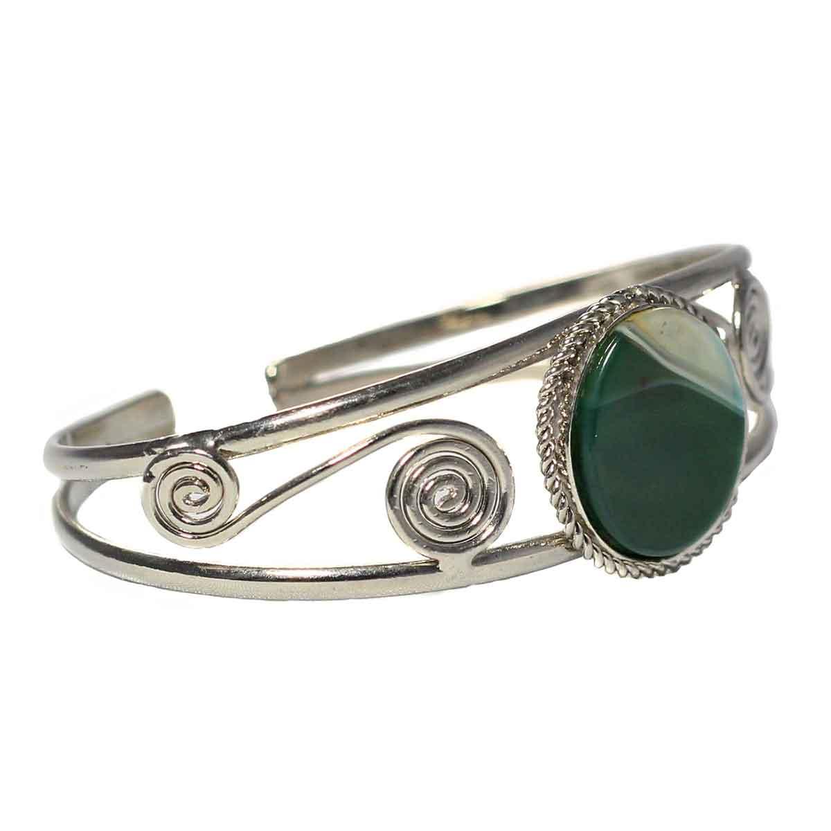 Inka-Products-Bracelet en Métal Argenté QILLA-Pierre Semi-précieuse Agate Verte Blanche-2