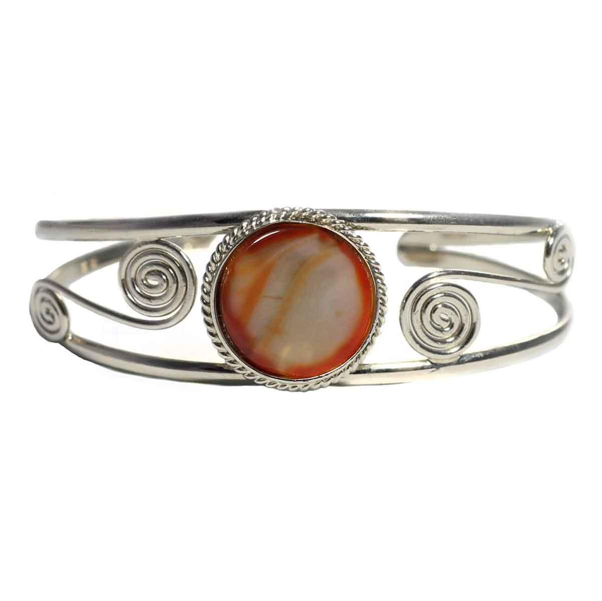 Inka-Products-Bracelet en Métal Argenté QILLA-Pierre Semi-précieuse Agate Marron Orangé Strié