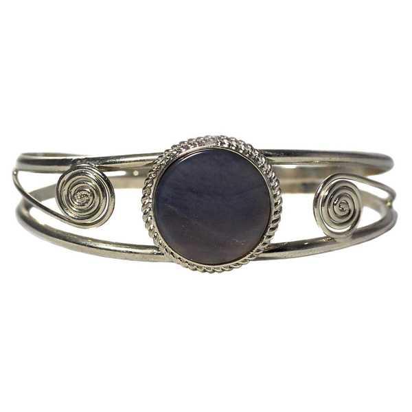 Bracelet en Métal Argenté QILLA Pierre Semi-précieuse Améthyste Violette - Inka Products