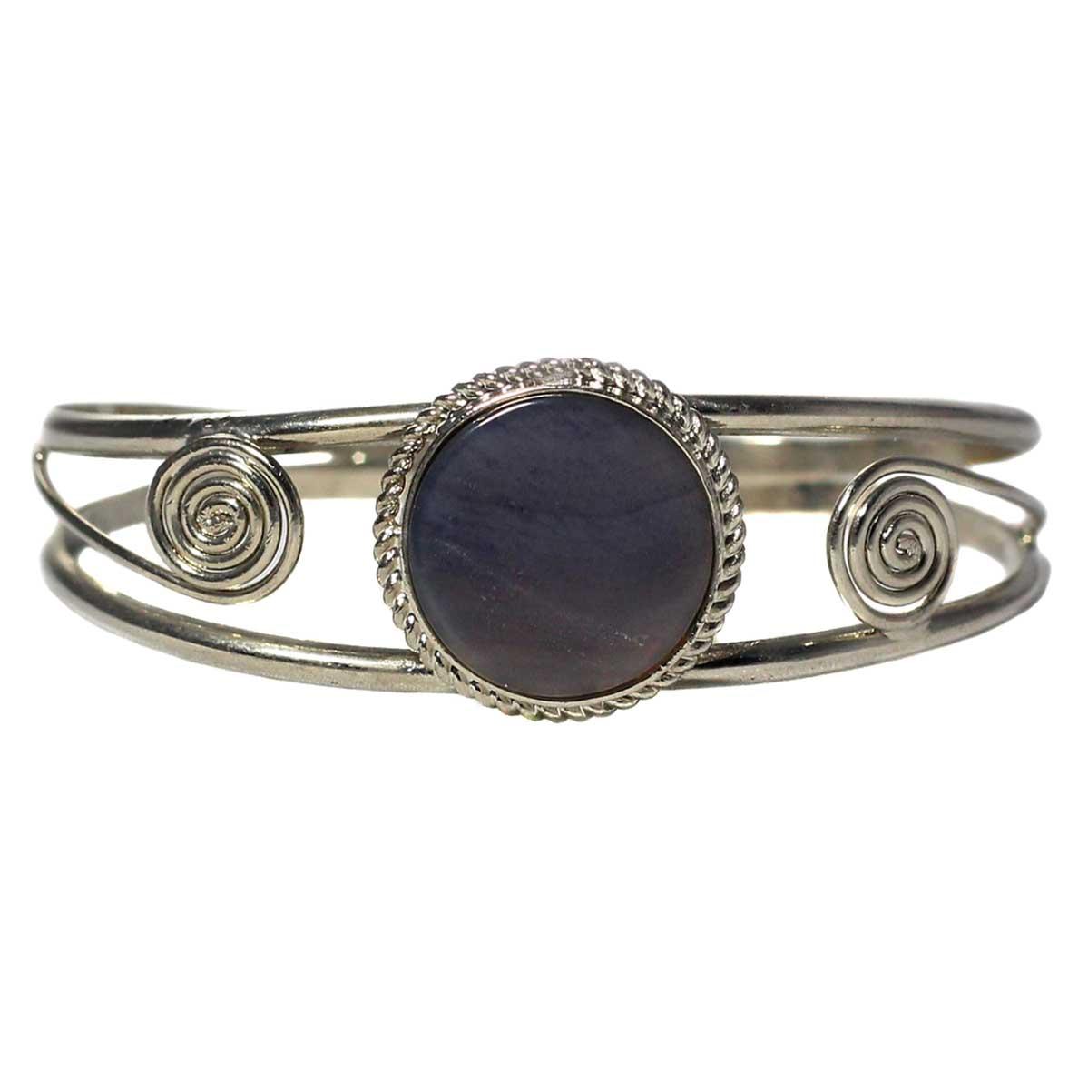 Inka-Products-Bracelet en Métal Argenté QILLA-Pierre Semi-précieuse Améthyste Violette