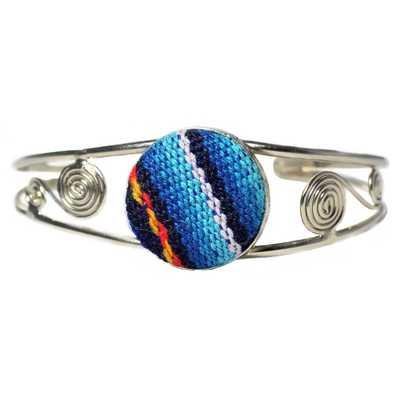 Inka-Products-Bracelet en Métal Argenté Péruvien-Tissu Traditionnel Andin Bleu