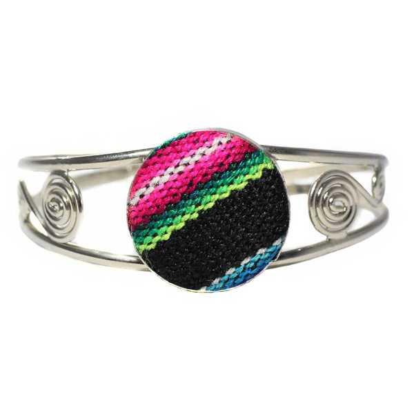 Bracelet en Métal Argenté Péruvien Tissu Traditionnel Andin Noir Coloré - Inka Products