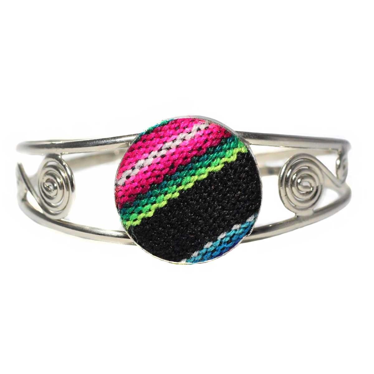 Inka-Products-Bracelet en Métal Argenté Péruvien-Tissu Traditionnel Andin Noir Coloré