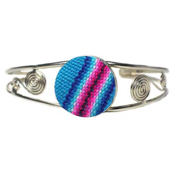Bracelet en Métal Argenté Péruvien Tissu Traditionnel Andin Bleu Ciel - Inka Products