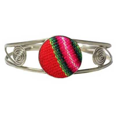 Inka-Products-Bracelet en Métal Argenté Péruvien-Tissu Traditionnel Andin Rouge