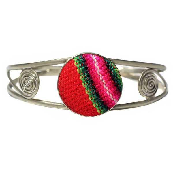 Bracelet en Métal Argenté Péruvien Tissu Traditionnel Andin Rouge - Inka Products