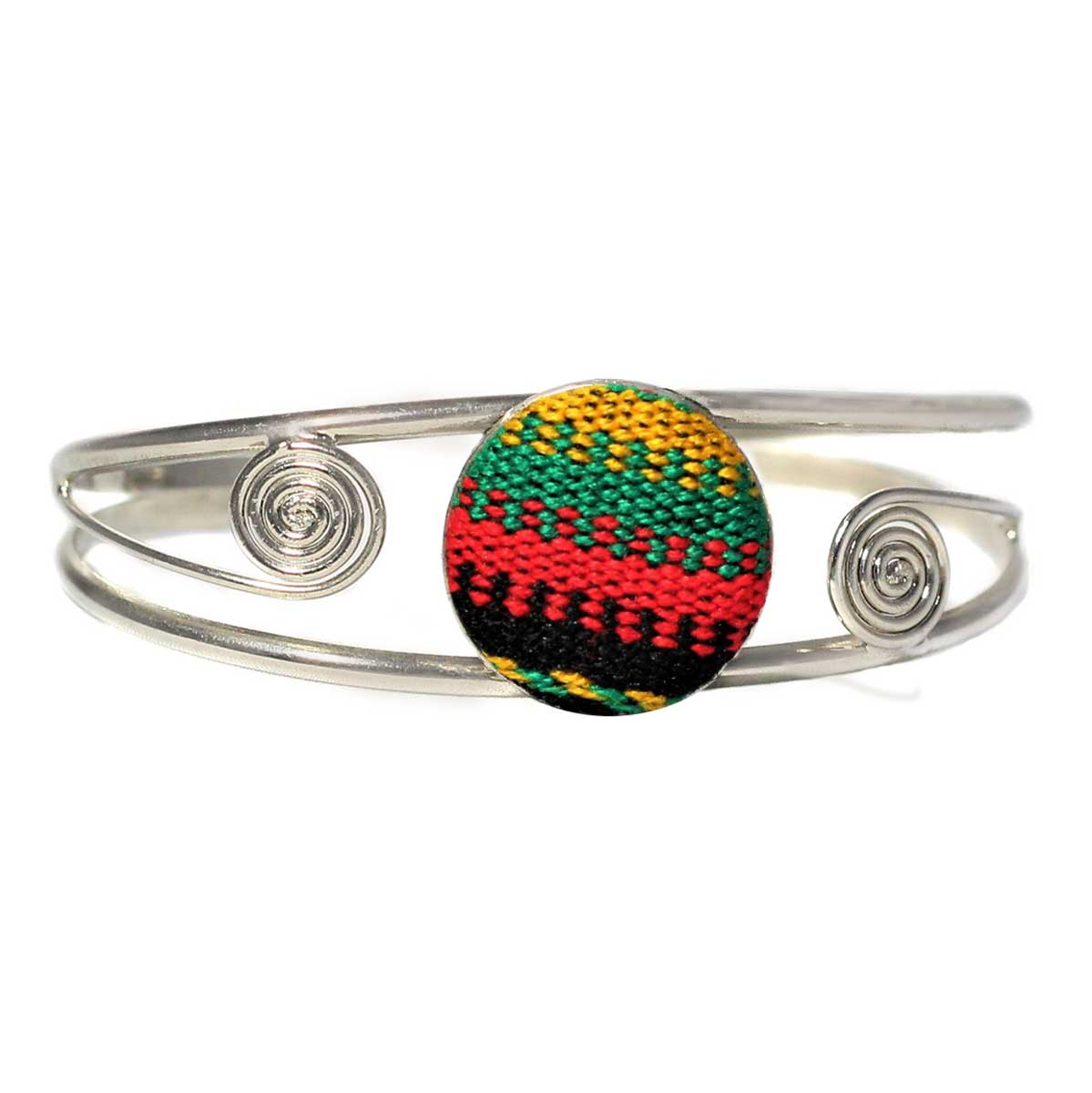 Inka-Products-Bracelet en Métal Argenté Péruvien-Tissu Traditionnel Andin Coloré