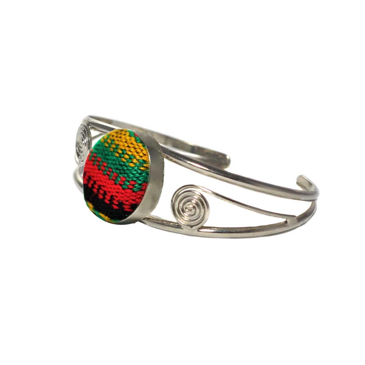 Inka-Products-Bracelet en Métal Argenté Péruvien-Tissu Traditionnel Andin Coloré-2