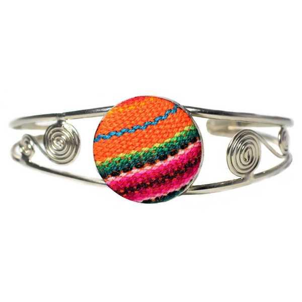 Bracelet en Métal Argenté Péruvien Tissu Traditionnel Orange Coloré - Inka Products