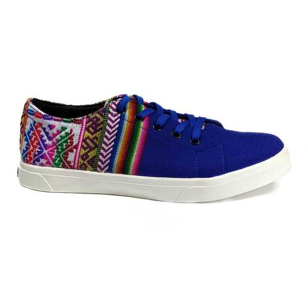 Sneakers Baskets Basses PARACAS BLEU Tissu Péruvien Motif Ethniques Homme-Femme - Inka Products