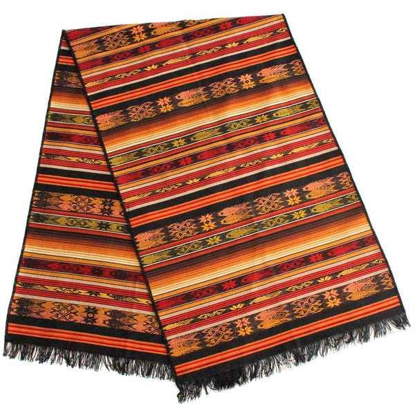 Chemin de Table Péruvien Noir Poissons CHALLWA - Inka Products
