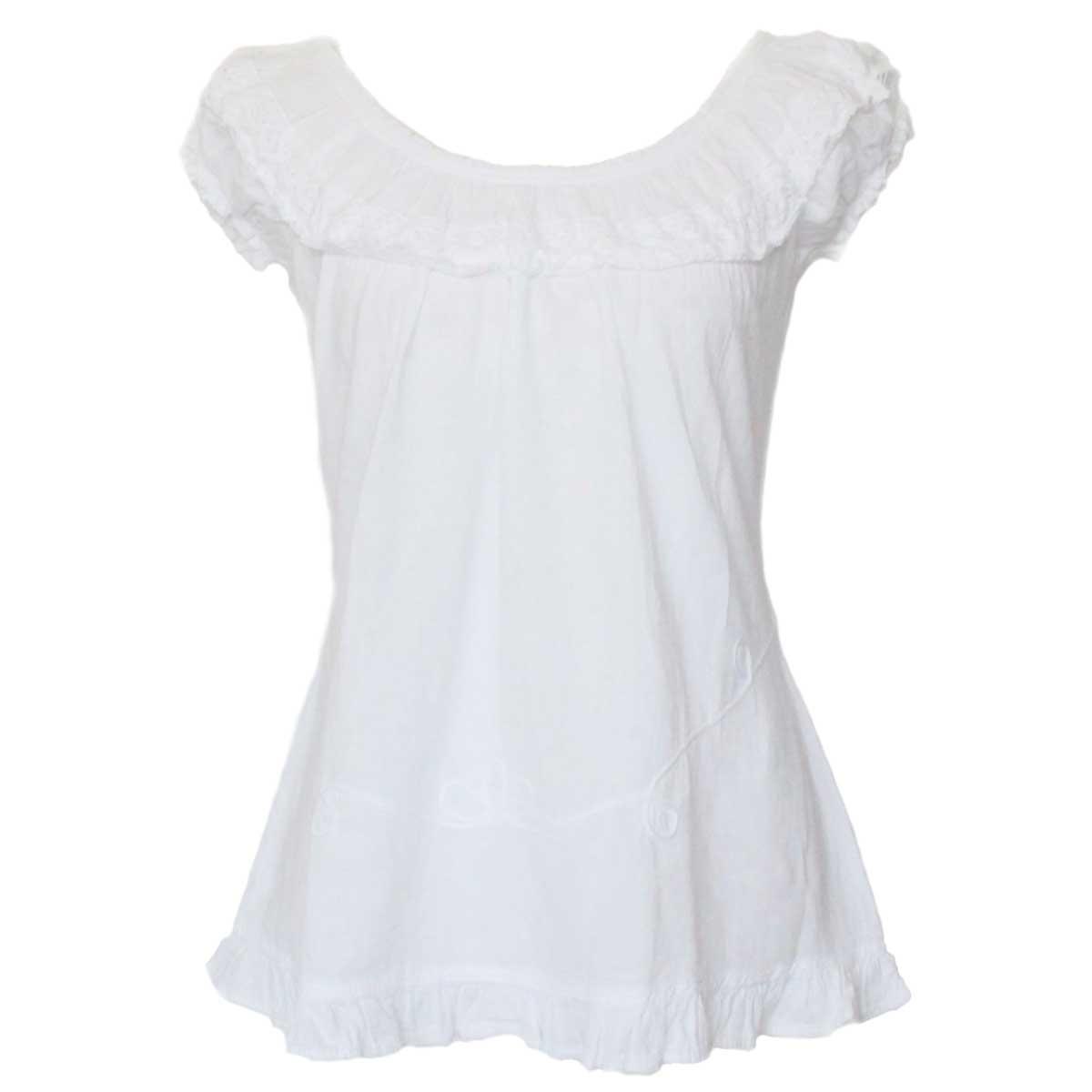 Inka-Products-Blouse T-shirt à Épaule Dénudée-Évasé Coton Péruvien