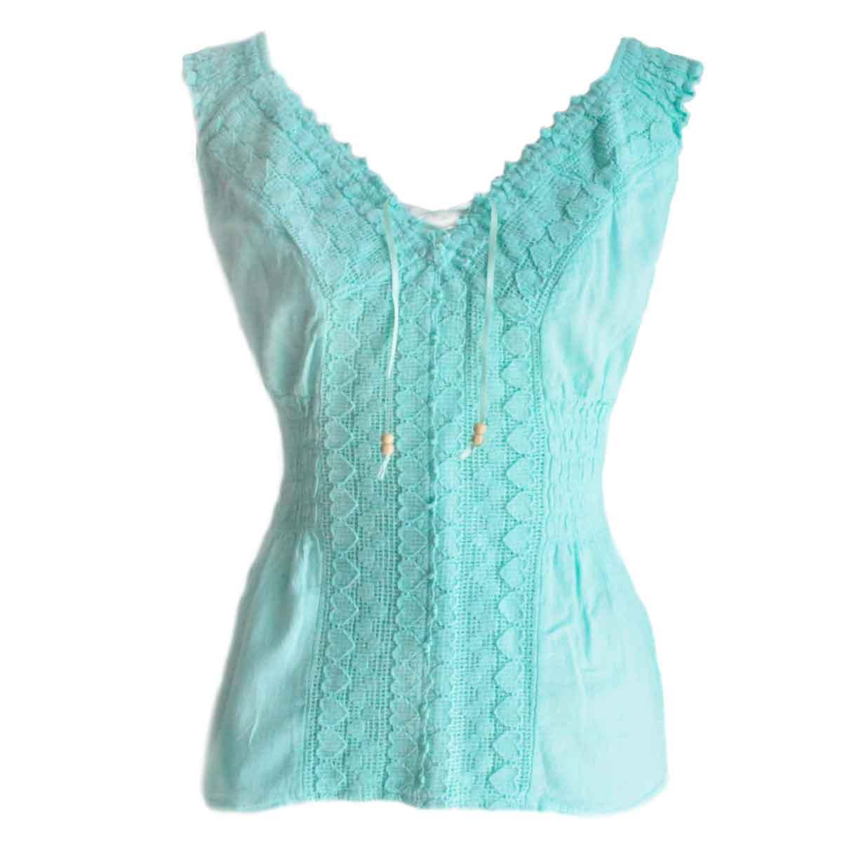 Inka-Products-Blouse T-shirt Col V à Épaule Dénudée-Évasé Coton Péruvien