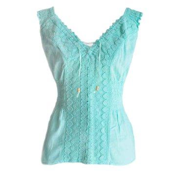 Inka Products Blouse T-shirt Col V à Épaule Dénudée Évasé Coton Péruvien