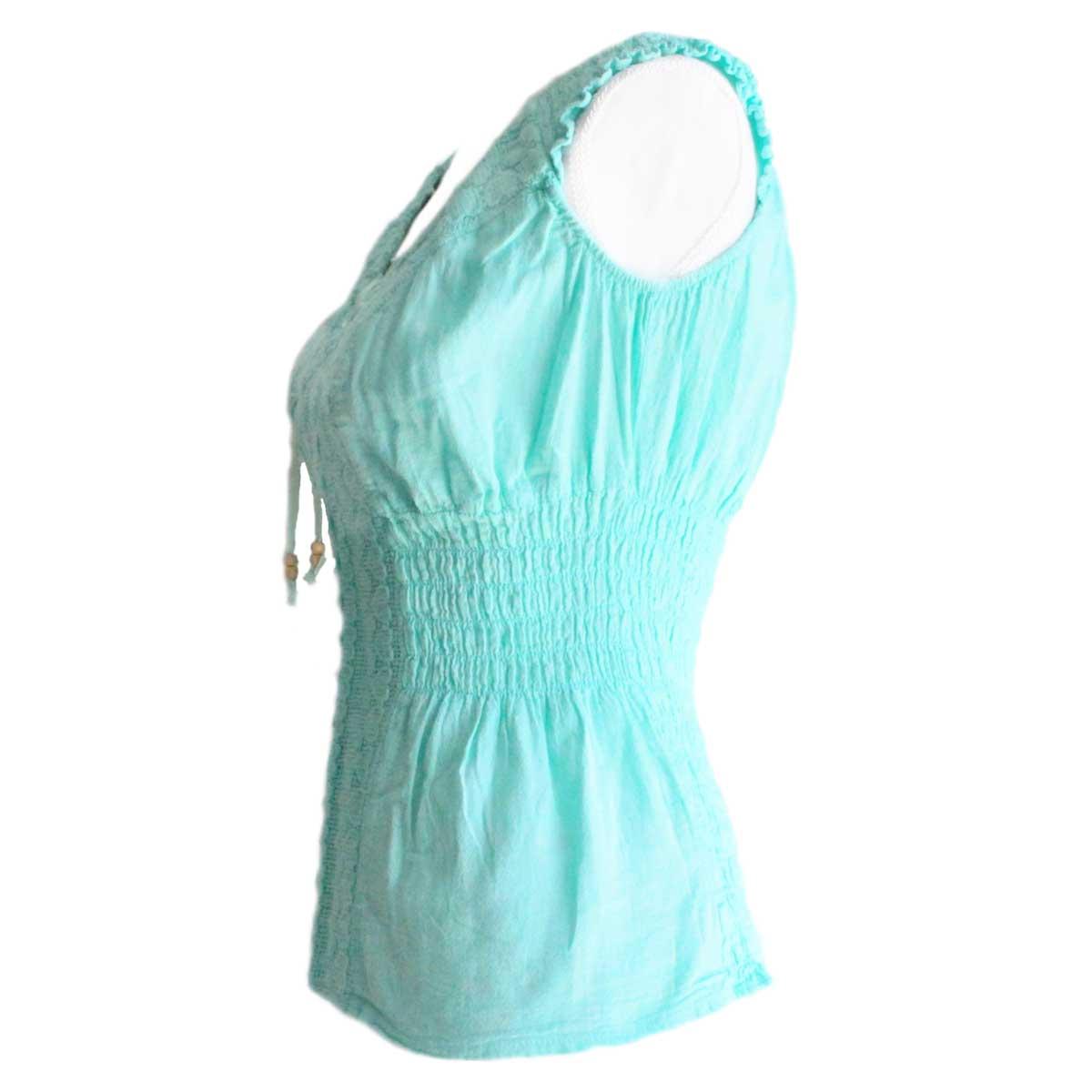 Inka-Products-Blouse T-shirt Col V à Épaule Dénudée-Évasé Coton Péruvien-2